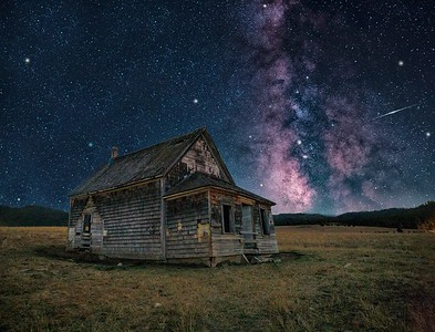 Cabin with Iridium Flare