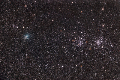 Comet PanSTARRS (C2017 T2) and the Double Cluster in Perseus