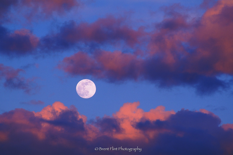 S.4597 - moon and cloud formations at sunset, Turnbull National Wildlife Refuge, WA.
