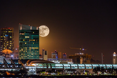 Super moon San Diego Skyline