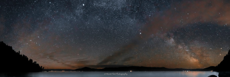 DF.3912 - Milky Way and clouds panorama over Lake Pend Oreille, Kaniksu National Forest, ID.