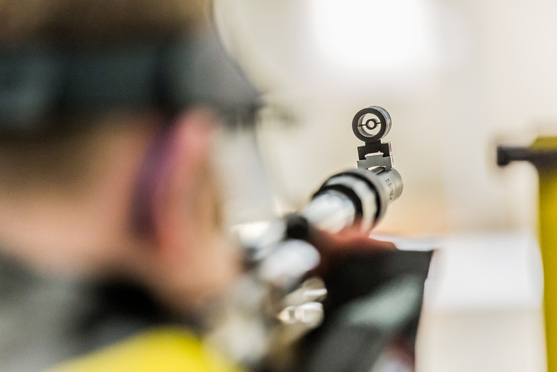 """Junior Mats Eriksson competes in the small bore event during the Nanooks' meet against the Citidel Jan. 20 in the E.F. Horton Rifle Range on the Fairbanks campus.  <div class=""""ss-paypal-button"""">Filename: ATH-14-4042-49.jpg</div><div class=""""ss-paypal-button-end"""" style=""""""""></div>"""