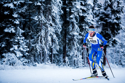 Alexander Eckert sprints up one of the first hills of the men's 8.5km race during day one of the Nordic Cup at Birch Hill on Nov. 19, 2016.  Filename: ATH-16-5069-51.jpg