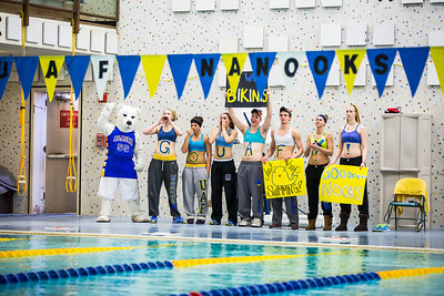 A group of student athletes support the women's swim team during a meet at the Patty Center.  Filename: ATH-14-4050-47.jpg