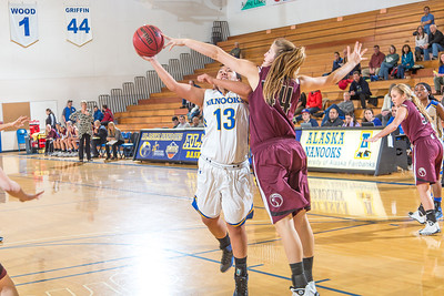 Sophomore guard Brianna Kirk gets this shot blocked during the Nanooks' first GNAC game of the season against Seattle Pacific.  Filename: ATH-13-4015-80.jpg