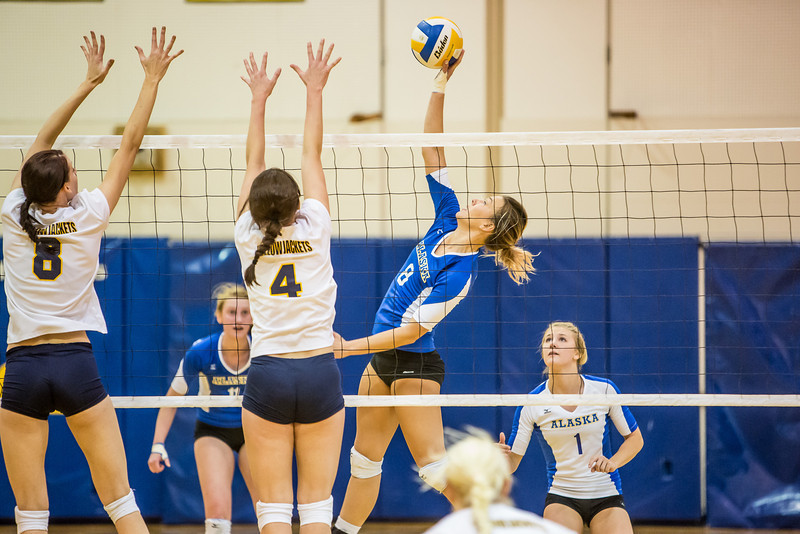 """Senior Reilly Stevens skies for a kill during the Nanooks' match against Montana State-Billings in the Patty Center.  <div class=""""ss-paypal-button"""">Filename: ATH-12-3638-77.jpg</div><div class=""""ss-paypal-button-end"""" style=""""""""></div>"""