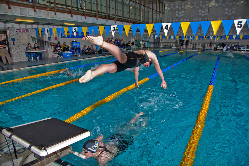 "Freshman Bente Heller dives in to start her anchor leg in leading the Nanooks to another win in the 200-yard freestyle relay during their dual meet against Colorado Mesa in the Patty pool.  <div class=""ss-paypal-button"">Filename: ATH-12-3267-186.jpg</div><div class=""ss-paypal-button-end"" style=""""></div>"