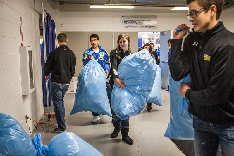 """The Student-Athlete Advisory Committee (SAAC) sponsored the 2nd Annual Teddy Bear Toss during the hockey game against Bowling Green State University Saturday, Dec. 8, 2012 at the Carlson Center. The bears were sent to Santa's Clearing House in Fairbanks to be given to families during holiday season.  <div class=""""ss-paypal-button"""">Filename: ATH-12-3676-96.jpg</div><div class=""""ss-paypal-button-end"""" style=""""""""></div>"""