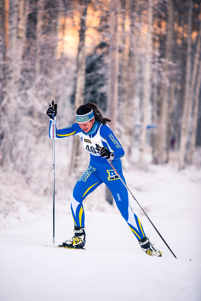"""UAF skiier Ann-Cathrin Uhl sprints up the last hill of the women's 6.5km ski race during day one of the Nordic Cup at Birch Hill on Nov. 19, 2016.  <div class=""""ss-paypal-button"""">Filename: ATH-16-5069-23.jpg</div><div class=""""ss-paypal-button-end""""></div>"""