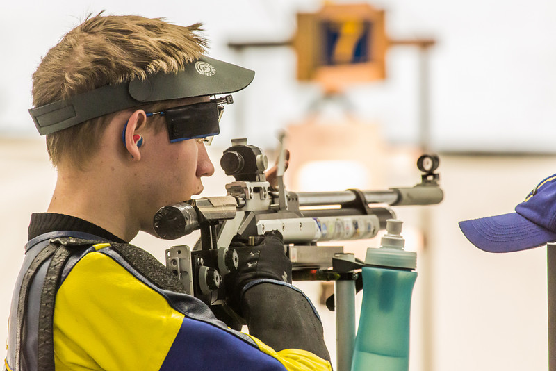 """Junior Ryan Anderson pauses between shots while competing in the small bore event during the Nanooks' meet against the Citidel Jan. 20 in the E.F. Horton Rifle Range on the Fairbanks campus.  <div class=""""ss-paypal-button"""">Filename: ATH-14-4042-14.jpg</div><div class=""""ss-paypal-button-end"""" style=""""""""></div>"""