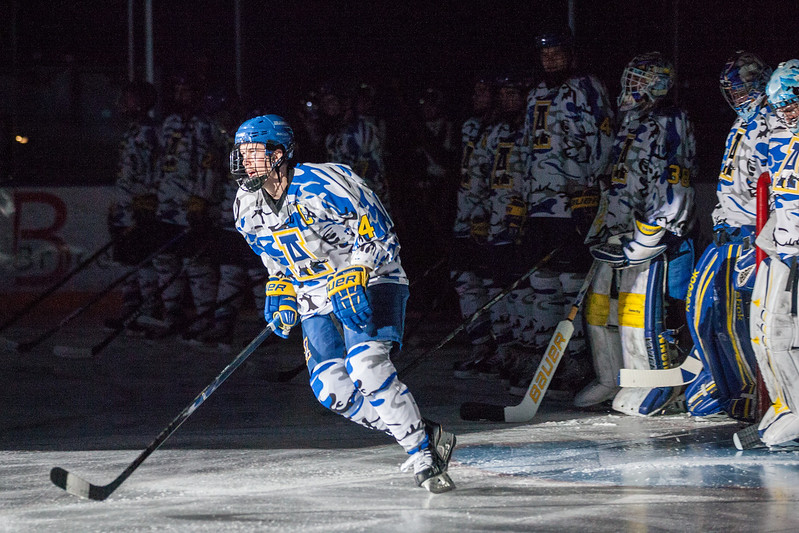 "UAF Mens Hockey Team sports on blue camouflage jerseys as part of a 10-day military appreciation event hosted by the Alaska Nanooks at a game against Western Michigan Nov. 16, 2012 at the Carlson Center.  <div class=""ss-paypal-button"">Filename: ATH-12-3656-6.jpg</div><div class=""ss-paypal-button-end"" style=""""></div>"