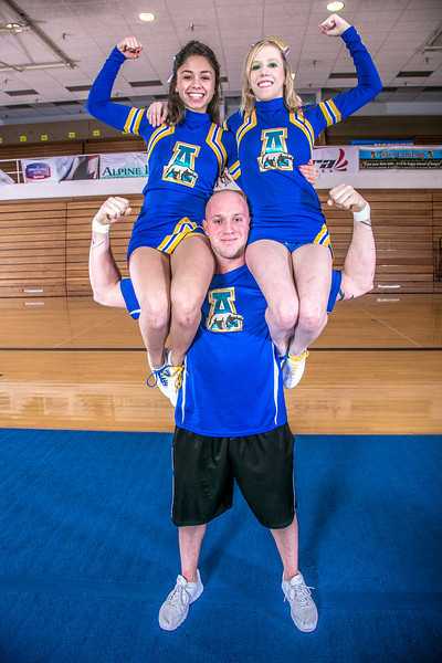 "The UAF cheerleading squad performs a variety of poses and routines during a practice session in the Patty Gym.  <div class=""ss-paypal-button"">Filename: ATH-13-3751-150.jpg</div><div class=""ss-paypal-button-end"" style=""""></div>"