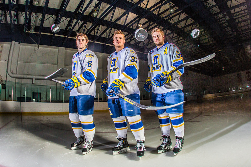 "Michael Quinn, left, Cody Kunyk and Colton Beck will return as seniors to lead the Nanooks in 2013 as the team makes its initial foray into the tough WCHA (Western Collegiate Hockey Association).  <div class=""ss-paypal-button"">Filename: ATH-13-3818-75.jpg</div><div class=""ss-paypal-button-end"" style=""""></div>"