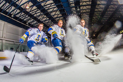 Michael Quinn, left, Cody Kunyk and Colton Beck will return as seniors to lead the Nanooks in 2013 as the team makes its initial foray into the tough WCHA (Western Collegiate Hockey Association).  Filename: ATH-13-3818-81.jpg
