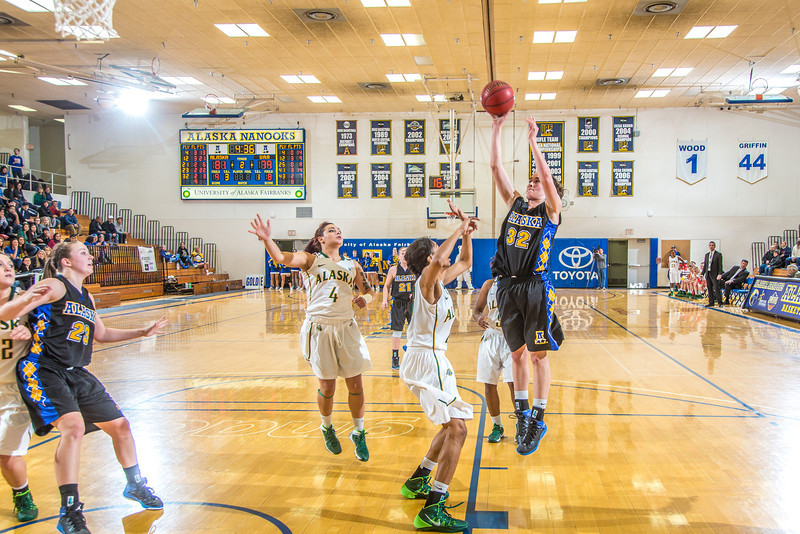 """Freshman Kailee Skjold puts up a jumper from the wing during the second half of the Nanooks game against the rival Seawolves from UAA Jan. 18 in the Patty Gym.  <div class=""""ss-paypal-button"""">Filename: ATH-14-4041-52.jpg</div><div class=""""ss-paypal-button-end"""" style=""""""""></div>"""