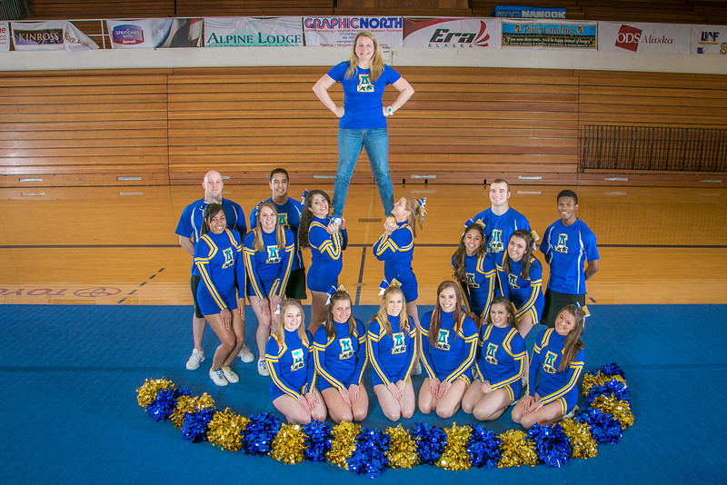 "The UAF cheerleading squad performs a variety of poses and routines during a practice session in the Patty Gym.  <div class=""ss-paypal-button"">Filename: ATH-13-3751-299.jpg</div><div class=""ss-paypal-button-end"" style=""""></div>"