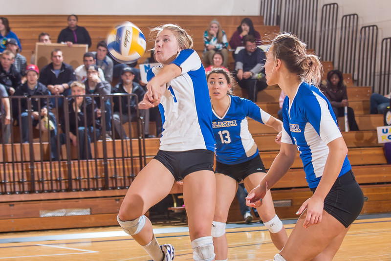"""Senior Allison Oddy returns serve during the Nanooks' 3-1 win over Simon Fraser in the Patty Gym Oct. 6.  <div class=""""ss-paypal-button"""">Filename: ATH-12-3581-153.jpg</div><div class=""""ss-paypal-button-end"""" style=""""""""></div>"""