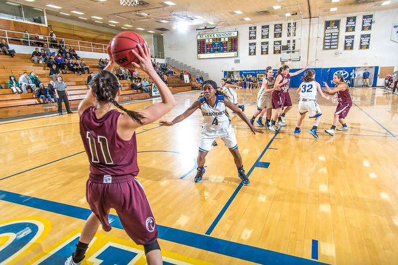 """Trailing by a bucket with time running out, junior point guard Benissa Bulaya, 4, and her teammates try to force a turnover during the Nanooks' first GNAC game of the season against Seattle Pacific.  <div class=""""ss-paypal-button"""">Filename: ATH-13-4015-108.jpg</div><div class=""""ss-paypal-button-end"""" style=""""""""></div>"""
