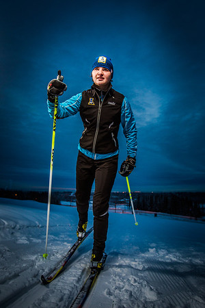 Freshman skier Maddy Pfeifer gets in some practice time on the UAF ski trails.  Filename: ATH-13-4013-15.jpg
