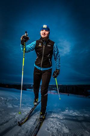 Freshman skier Maddy Pfeifer gets in some practice time on the UAF ski trails.  Filename: ATH-13-4013-15.jpg
