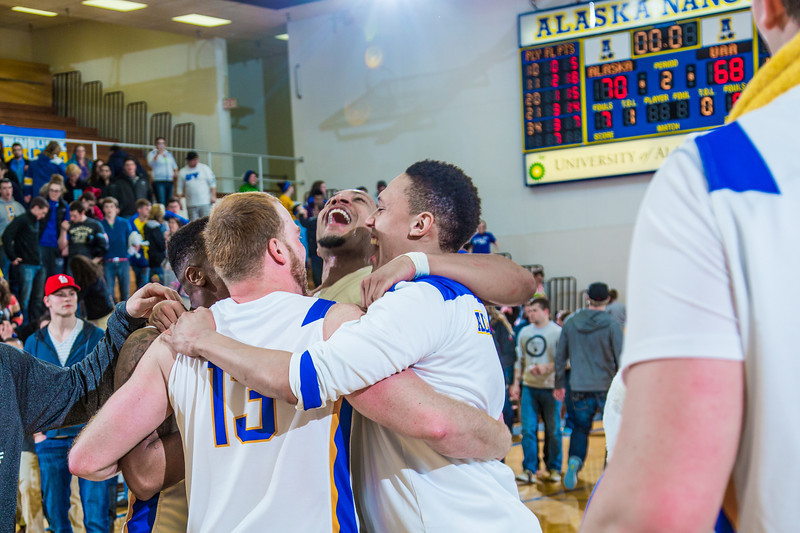 """Nanooks gather near mid-court to celebrate beating the UAA Seawolves on a last-second shot by Andrew Kelly on Senior Night in the Patty Gym.  <div class=""""ss-paypal-button"""">Filename: ATH-14-4097-86.jpg</div><div class=""""ss-paypal-button-end"""" style=""""""""></div>"""