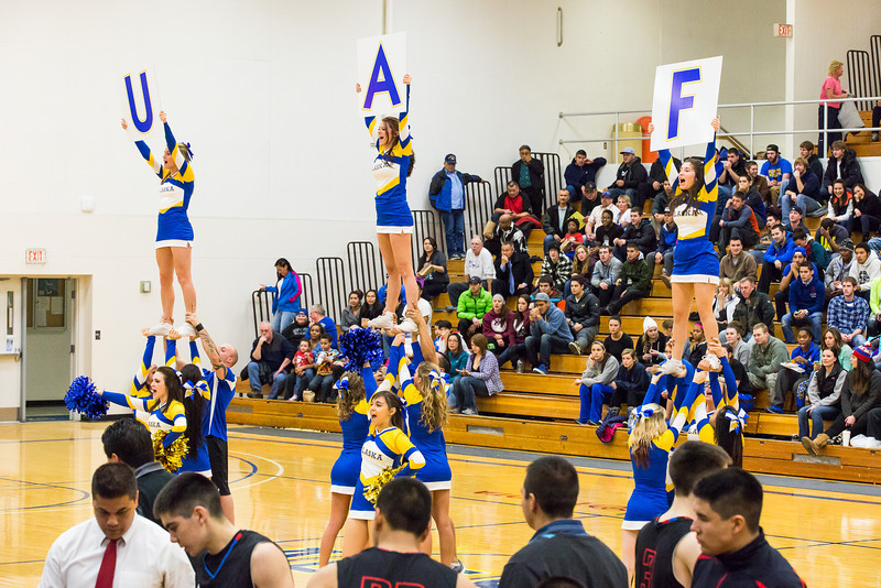 "Nanook cheerleaders perform during the men's basketball game against Northwest Indian College at the Patty Center.  <div class=""ss-paypal-button"">Filename: ATH-13-4034-10.jpg</div><div class=""ss-paypal-button-end"" style=""""></div>"