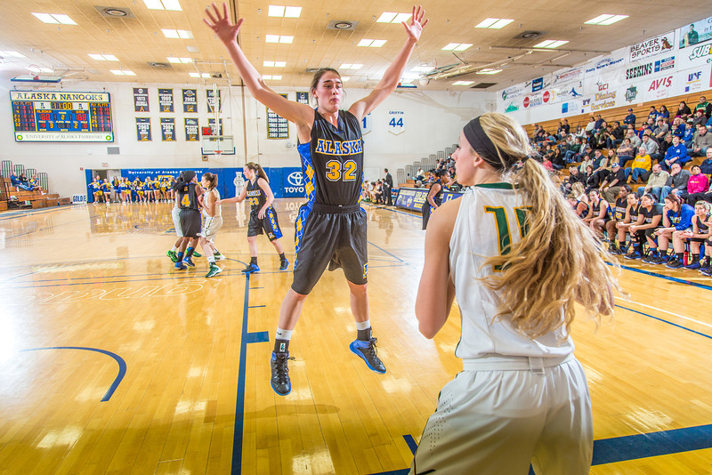 """Freshman Kailee Skjold applies full-court pressure during the second half of the Nanooks game against the rival Seawolves from UAA Jan. 18 in the Patty Gym.  <div class=""""ss-paypal-button"""">Filename: ATH-14-4041-15.jpg</div><div class=""""ss-paypal-button-end"""" style=""""""""></div>"""