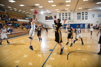 Freshman forward Kaillee Skjold shoots a 15-foot jumper during the second half of the championship game of the North Star Invitational Tournament against Wayne State in the Patty Gym.  Filename: ATH-13-4010-135.jpg