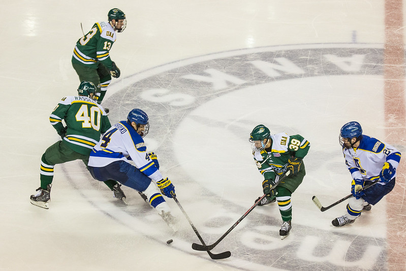 "Alaska Nanooks Mens Hockey Team and the SeaWolves face off at the Carlson Center.  <div class=""ss-paypal-button"">Filename: ATH-14-4118-44.jpg</div><div class=""ss-paypal-button-end""></div>"