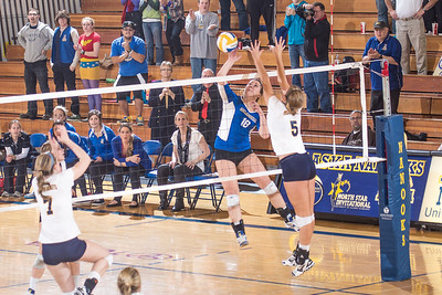 Freshman Megan Morrison skies for a kill during the Nanooks match against Montana State-Billings in the Patty Center.  Filename: ATH-12-3638-153.jpg