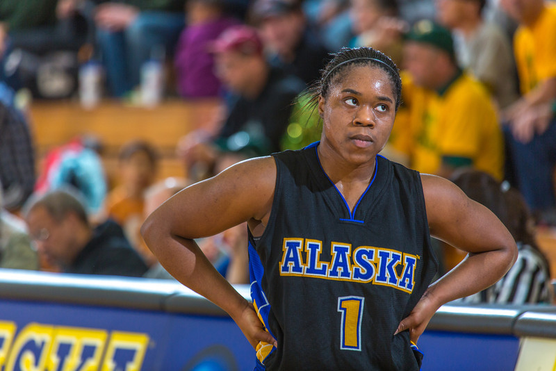 """Freshman Victoria Milton looks frustrated after collecting her fifth foul late in the second half of the Nanooks game against the rival Seawolves from UAA Jan. 18 in the Patty Gym.  <div class=""""ss-paypal-button"""">Filename: ATH-14-4041-84.jpg</div><div class=""""ss-paypal-button-end"""" style=""""""""></div>"""