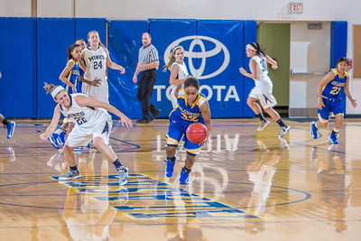 Junior April Fultz heads up the court after making a steal during second half action in the Nanooks' game against the Colorado School of Mines in the Patty Center.  Filename: ATH-12-3639-84.jpg