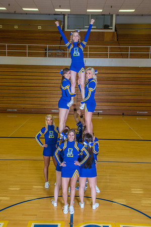 The 2014 Nanook cheerleaders pose in the Patty Gym.  Filename: ATH-14-4044-58.jpg