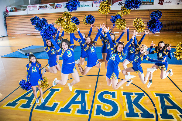 """The UAF cheerleading squad performs a variety of poses and routines during a practice session in the Patty Gym.  <div class=""""ss-paypal-button"""">Filename: ATH-13-3751-337.jpg</div><div class=""""ss-paypal-button-end"""" style=""""""""></div>"""