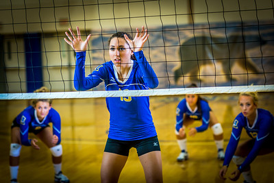 Members of the Nanook volleyball team practice in the Patty Gym.  Filename: ATH-13-3908-050.jpg