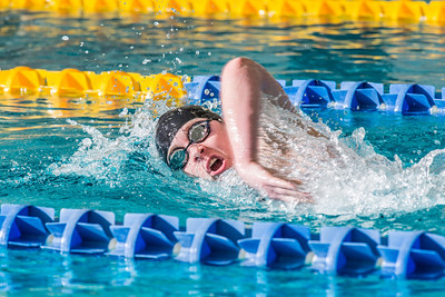 Freshman Kathryn Pound strokes her way toward the finish line to win the 500-yard freestyle event during the Nanooks' meet against Loyola Marymount in the Patty Pool.  Filename: ATH-13-3991-193.jpg