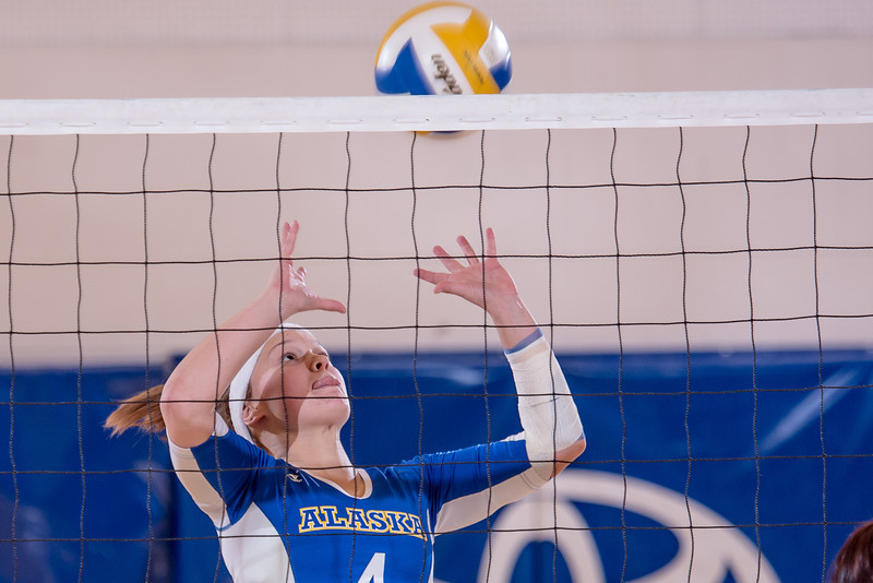 """Freshman Katlyn Mataya sets up a teammate at the net during the Nanooks' match against Montana State-Billings in the Patty Center.  <div class=""""ss-paypal-button"""">Filename: ATH-12-3638-130.jpg</div><div class=""""ss-paypal-button-end"""" style=""""""""></div>"""