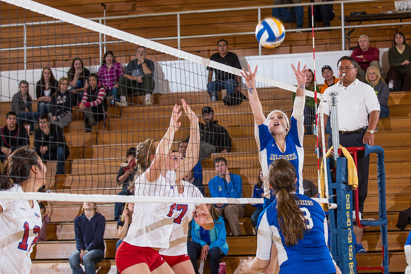 """Freshman Katlyn Mataya sets up a teammate during the Nanooks' win over Simon Fraser in the Patty Center.  <div class=""""ss-paypal-button"""">Filename: ATH-12-3581-158.jpg</div><div class=""""ss-paypal-button-end"""" style=""""""""></div>"""