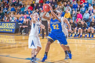 Junior April Fultz drives toward the hoop during second half action in the Nanooks' game against the Colorado School of Mines in the Patty Center.  Filename: ATH-12-3639-94.jpg