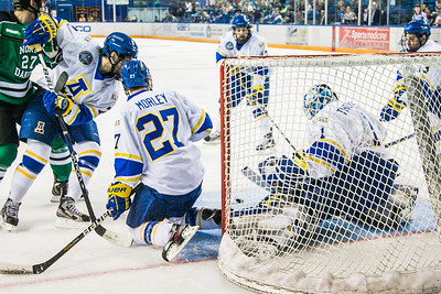 Senior goalie Steve Thompson stops another shot on goal during the Nanooks' 2-1 win over North Dakota in the Carlson Center.  Filename: ATH-12-3601-8.jpg