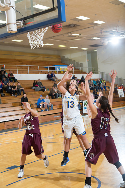 """Sophomore guard Brianna Kirk gets inside to score two of her eight points during the Nanooks' first GNAC game of the season against Seattle Pacific.  <div class=""""ss-paypal-button"""">Filename: ATH-13-4015-107.jpg</div><div class=""""ss-paypal-button-end"""" style=""""""""></div>"""