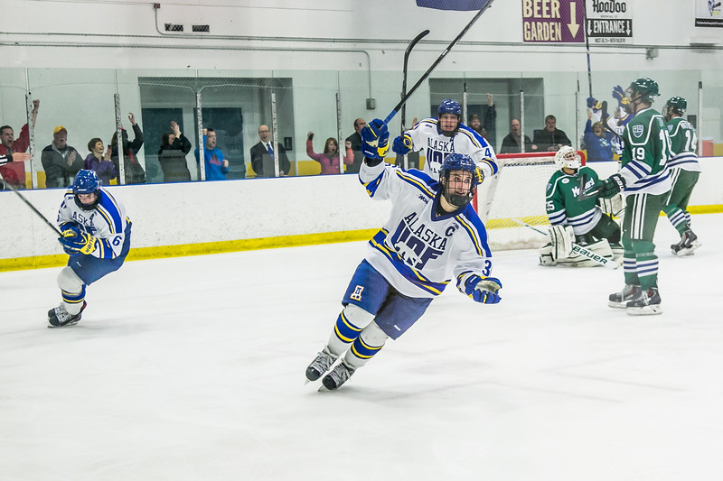 """Senior Colton Beck heads up the ice after scoring to tie things up at 4 apiece during the Nanooks battle against Mercyhurst Friday, Oct. 25 in the Patty Ice Area. The Nanooks scored again moments later to complete a three-goal comback and win 5-4.  <div class=""""ss-paypal-button"""">Filename: ATH-13-3982-151.jpg</div><div class=""""ss-paypal-button-end"""" style=""""""""></div>"""