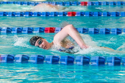 Freshman Kathryn Pound strokes her way toward the finish line to win the 500-yard freestyle event during the Nanooks' meet against Loyola Marymount in the Patty Pool.  Filename: ATH-13-3991-208.jpg