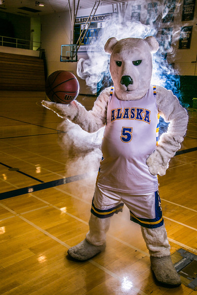 """The Nanook mascot tries to keep his cool while hanging out in the Patty Gym.  <div class=""""ss-paypal-button"""">Filename: ATH-13-3850-20.jpg</div><div class=""""ss-paypal-button-end"""" style=""""""""></div>"""