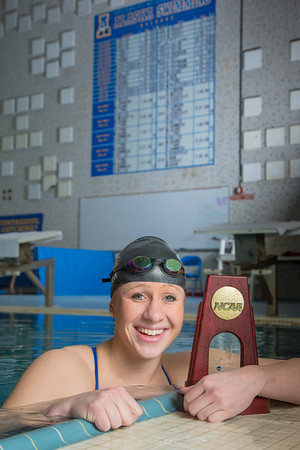 UAF's Bente Heller claimed the first national championship in the program's history, claiming the title in the women's 100 meter backstroke at the NCAA Div II championships in Birmingham, AL.  Filename: ATH-13-3758-36.jpg