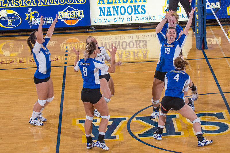 """Freshman Megan Morrison leads the cheer after scoring a point in the Nanooks' win over Simon Fraser in the Patty Center.  <div class=""""ss-paypal-button"""">Filename: ATH-12-3581-49.jpg</div><div class=""""ss-paypal-button-end"""" style=""""""""></div>"""