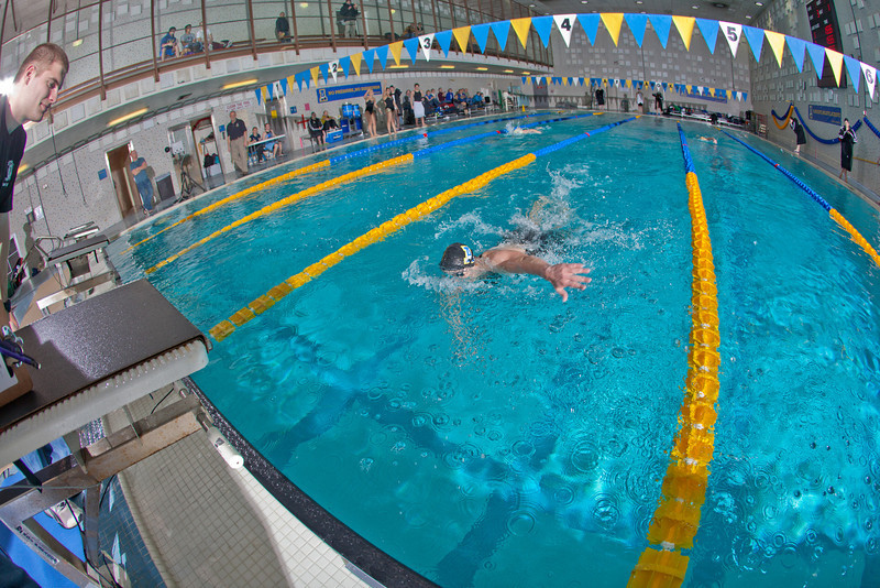 "Freshman Bente Heller nears the finish while winning the 200-yard freestyle event for the Nanooks during their dual meet against Colorado Mesa in the Patty pool.  <div class=""ss-paypal-button"">Filename: ATH-12-3267-081.jpg</div><div class=""ss-paypal-button-end"" style=""""></div>"