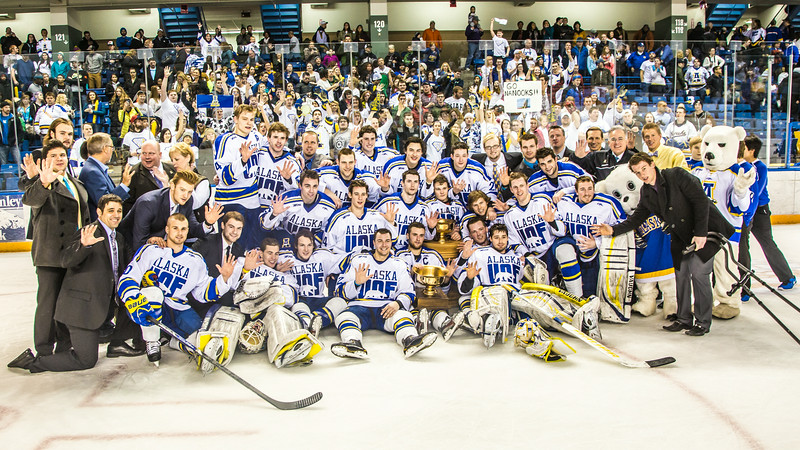 "The Nanooks celebrate after succesfully defending the Alaska's Governor's Cup  with a shoot-out victory over the UAA Seawolves March 8.  <div class=""ss-paypal-button"">Filename: ATH-14-4109-322.jpg</div><div class=""ss-paypal-button-end""></div>"
