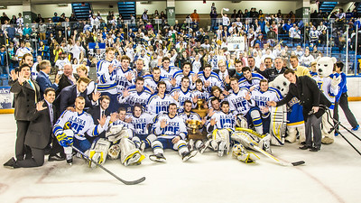 The Nanooks celebrate after succesfully defending the Alaska's Governor's Cup  with a shoot-out victory over the UAA Seawolves March 8.  Filename: ATH-14-4109-322.jpg