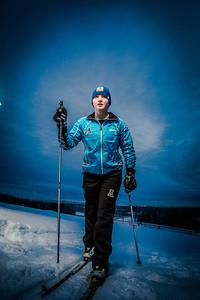 Freshman skier Hannah Stevens gets in some practice time on the UAF ski trails.  Filename: ATH-13-4013-17.jpg